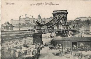 Budapest, Lánchíd, rakpart, Taussig kiadása, képeslapfüzetből (EK)