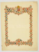 cca 1940 Kitöltetlen díszes oklevélpapír Nagy-Magyarország címerével, 31x22 cm