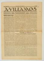 1922 Bp., A Villamos, A Magyarországi Villamos- és HElyiérdekű Vasutak Alkalmazottainak érdekeit képviselő szaklap VIII. évfolyamának 2. száma