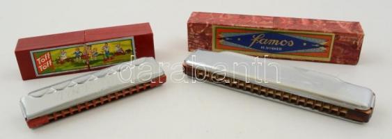Hohner famos és Tőff, tőff gyerek szájharmonika, eredeti dobozában, h:11 és 15 cm
