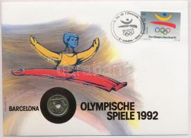 Spanyolország 1990. 25p Ni-Br 1992 Olimpiai Játékok borítékban, bélyeggel és bélyegzéssel, német nyelvű leírással T:BU Spain 1990. 25 Pesetas Ni-Br 1992 Olimpics in envelope with stamps and German language description C:BU Krause KM#851