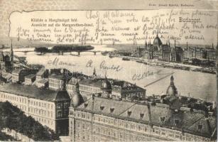 Budapest, kilátás a Margitsziget felé, Divald Károly kiadása (EK)
