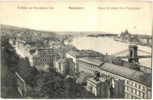 Budapest, kilátás az Országház felé, látkép, N. M. Bp. (fa)