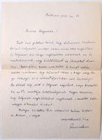 1949 Szemere Samu (1881-1976) által kézzel írt támogató hangvételű levél Vértes O. Auguszta tudós számára, eredeti borítékban