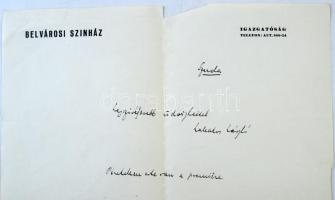 Lakatos László (1882-1944) író, újságíró saját kezű üdvözlő sorai és aláírása a Belvárosi színház levélpapírján