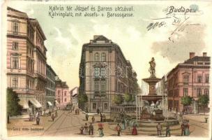 Budapest VIII. Kálvin tér, Baross utca, gyógyszertár, villamos, Ganz Antal kiadása 304. sz., litho (ragasztónyomok / glue marks)