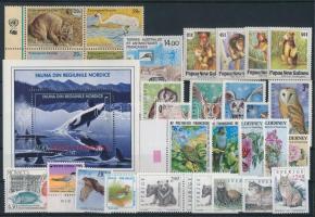 1992-1997 Állat motívum 30 db bélyeg, közte teljes sorok és ívszéli értékek, összefüggések + blokk