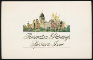 1977-1981 3 klf Festmény MINTA bélyeg az 1984-es Ausztráliai Festmény Bélyeg Bélyegkiállítás kiadványában Mi 640, 672, 753