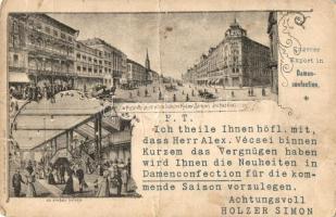 Budapest V. Kossuth utca, Holzer Simon áruháza és annak belseje, reklám, Lengyel Lipót kiadása, floral Art Nouveau (fa)