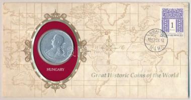 1943. 5P Al Horthy Miklós születésének 75. évfordulója felbélyegzett Great Historic Coins of the World borítékban T:1-