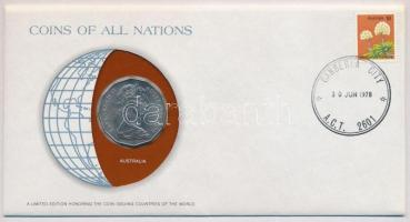Ausztrália 1978. 50c Nemzetek Pénzérméi felbélyegzett borítékban, bélyegzéssel T:1- Australia 1978. 50 Cents Coins of all Nations in envelope with stamp C:AU