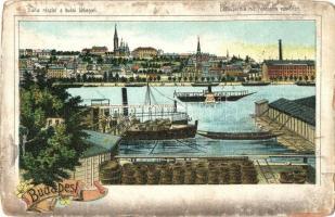 Budapest, Duna részlet a budai látképpel, gőzhajó, rakpart, floral litho (kopott sarkak / worn corners)