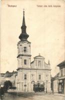 Budapest I. Tabán, római katolikus templom, villamos, üzlet (EK)