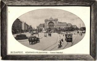 Budapest VII. Központi (Keleti) pályaudvar, Baross tér, villamosok, A. L. Serie Bp. 20., kerettel díszített képeslap (EB)