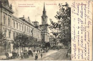 Budapest VI. Nagymező utca, Terézvárosi templom, Divald Károly kiadása (EK)