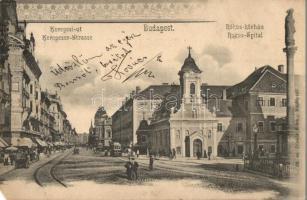 Budapest VIII. Rákóczi út (Kerepesi út) Rókus kórház, templom, villamos, díszített, Divald Károly kiadása (EB)