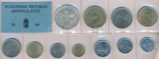 1994. 10f-200Ft (11xklf) érmés forgalmi sor fóliatokban, közte 1994. 200Ft Ag Deák T:1