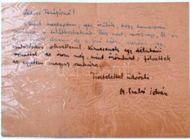M. Szabó István (1931-1976) író saját kezű levele és aláírása