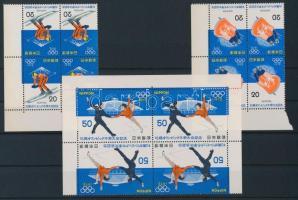 1972 Téli olimpia sor ívsarki négyestömbökben Mi 1138-1140