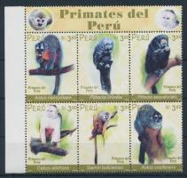 2002 Majom - Állat sor ívszéli hatostömbben Mi 1830-1835