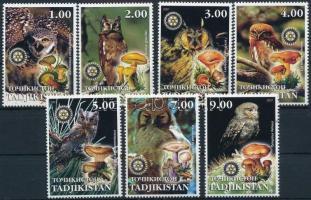 Tadzsikisztán 2001 Gomba, bagoly 7 klf bélyeg