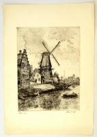 Blahos Rudolf (1917-1986): Holland táj. Rézkarc, papír, jelzett, 39×29 cm