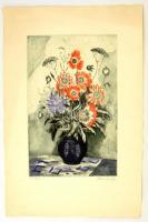 Blahos Rudolf (1917-1986): Virágok. Színezett rézkarc, papír, jelzett, 39×29 cm