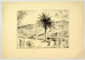 Aszódi Weil Erzsébet (1901-1976): Vásár a Dalmát tengerparton. Rézkarc, papír, jelzett, gyűrött, 26×39 cm