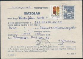 1991 Díjkiegészített díjjegyes igazolás SÁROSPATAK