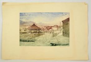 Dudás Jenő (1900-1991): Tihanyi vonulás. Színes rézkarc, papír, jelzett, 29×40 cm
