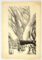 Jelzés nélkül: Kompozíció. Litográfia, papír, 49×30 cm