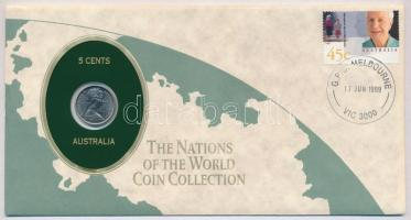 Ausztrália 1984. 5c The Nations of the World Coin Collection felbélyegzett borítékban T:1 Australia 1984. 5 Cents The Nations of the World Coin Collection in envelope with stamp C:UNC