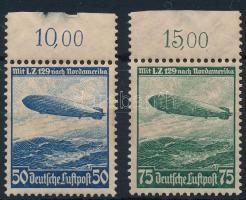 1936 Zeppelin Észak-Amerikai útja ívszéli sor Mi 606-607