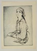 Jelzés nélkül: Női portré. Rézkarc, papír, 39×29 cm
