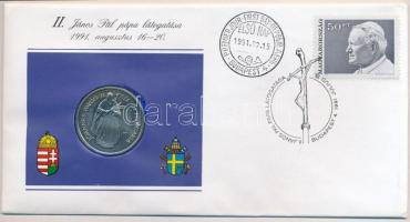 1991. 100Ft Cu-Ni II. János Pál pápa látogatása Magyarországon érmés borítékban, első napi bélyegzéssel, kartonlapon T:BU