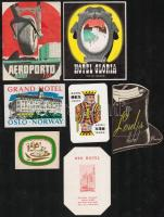 7 db bőröndcímke(Hotel Glória, Hotel Rio, Rex Hotel Rio, Grand Hotel Oslo, Rex Hotel Lisszabon, Lords Hotel Beirut)