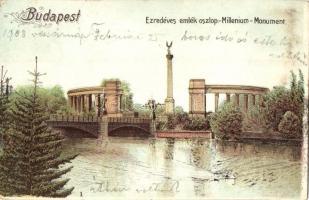 Budapest XIV. Hősök tere, Millenniumi emlékmű, litho (EK)