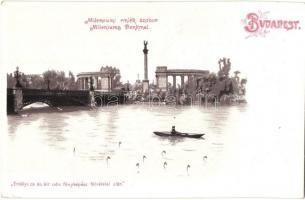 Budapest XIV. Hősök tere, Millenniumi emlékmű, tó, litho (kis szakadás / small tear)