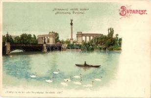 Budapest XIV. Hősök tere, Millenniumi emlékmű, tó, litho