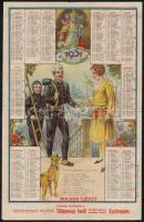 1931 Esztergom, Boldog új évet kívánnak tisztelettel a kéményseprő segédek Tölgyessy Jenő kéményseprőmester úrnál - litho naptár, hajtásnyommal, 32x20 cm