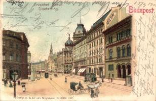 Budapest VIII. Erzsébet körút, Hotel Rémi, Magyar királyi Technológiai és Ipar múzeum, villamos, litho