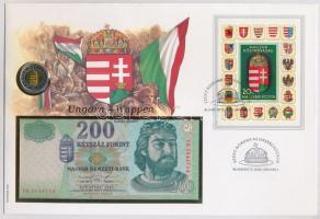 1998. 200Ft FH + 1998. 200Ft érme felbélyegzett borítékban Szent Korona az Országházban bélyegzéssel T:1,I