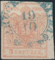 1850 3kr kék ,,BRUCK (a.d.) LEITHA
