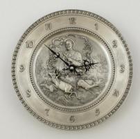 Artina SKS Zinn vadász mintás ón falióra, elem nélkül, jelzett, müködő képes, d:24 cm