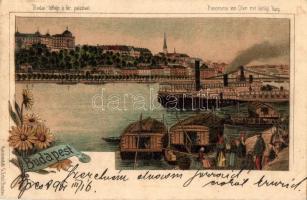 Budapest, budai látkép, királyi palota, gőzhajó, floral, G. Ertel litho (EK)