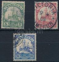 Kamerun 1905 Császári jacht 3 klf érték Mi 21 I, 22a, 23 Ia