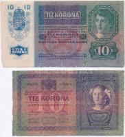 1914. 2K C + 1904. 10K + 1915. 10K + 1923. 100K számozás és nyomdahely nélküli T:III,III- ly., szakadás Adamo K5; K10; K11; K30