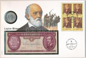 1994. Kossuth Lajos halálának 100. évfordulója érmés és bankjegyes pecsételt boríték 1947. 5Ft Ag érmével és 1992. 100Ft-os bankjeggyel illetve egyenként 19Ft névértékű négyestömbű bélyeggel a PHILSWISS kiadásában, német leírással T:2,I