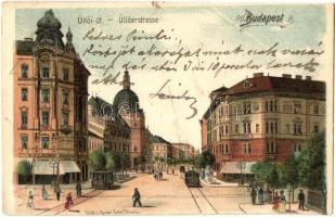 Budapest IX. Üllői út, Iparművészeti múzeum, Valéria Kávéház, villamosok, Gustav Ertel litho (EK)