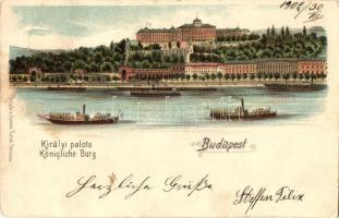 Budapest I. Királyi palota, gőzhajók, Gustav Ertel litho (EK)